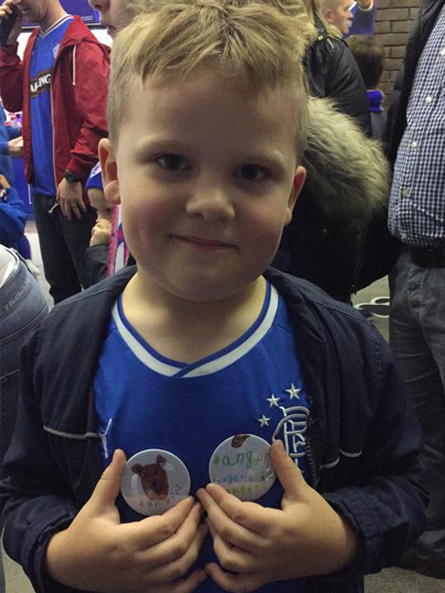 Making badges at Ibrox
