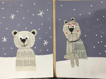 Snow scenes at Saturday Art Club